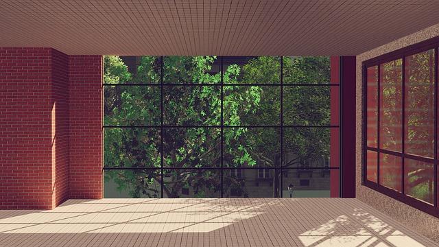 sklenené steny domu