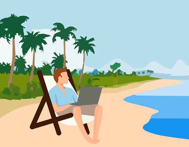 s notebookem na pláži